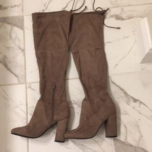 Daryl robin tan knee high boots